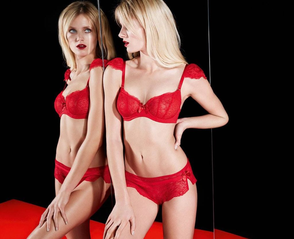 Huit_Nouvel Emoi Half Cup Bra with Lace Shoulder Caps + Short_Poppy (AW 2014)