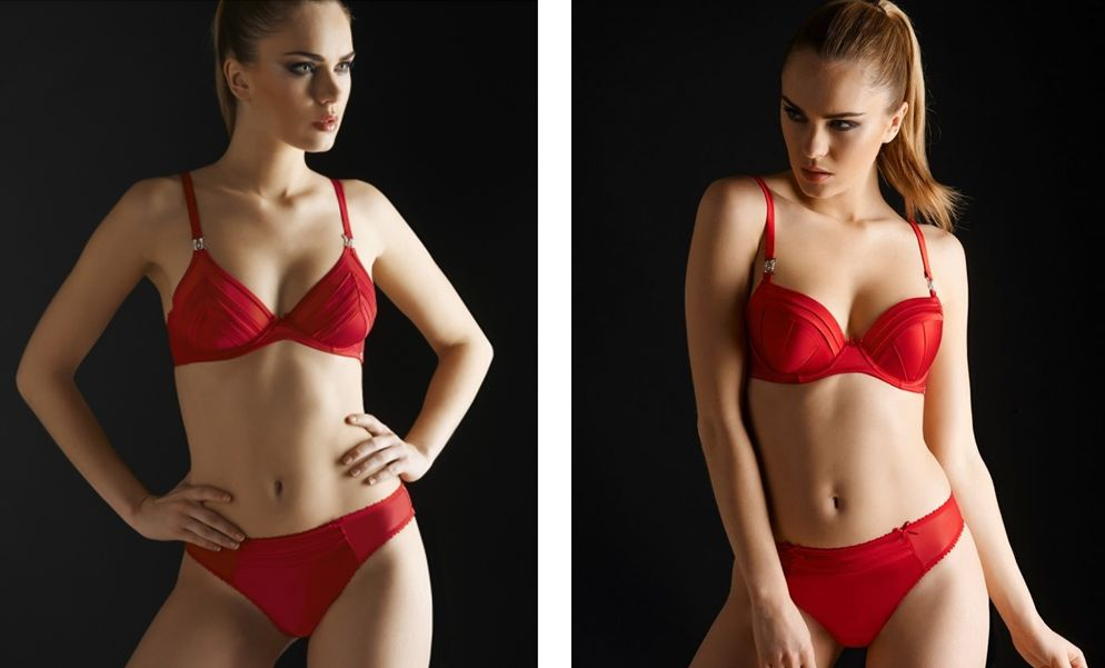 Millesia_Clandestine Seiden-Triangel-BH + Slip, Push-Up-BH + String_Red (AW 14)