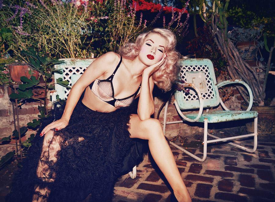 Mosh by Tatiana Gerusova wearing Dotties Delights_Show-Off Bra + Marilyn Feltz_French Tulle Embroidery Petticoat