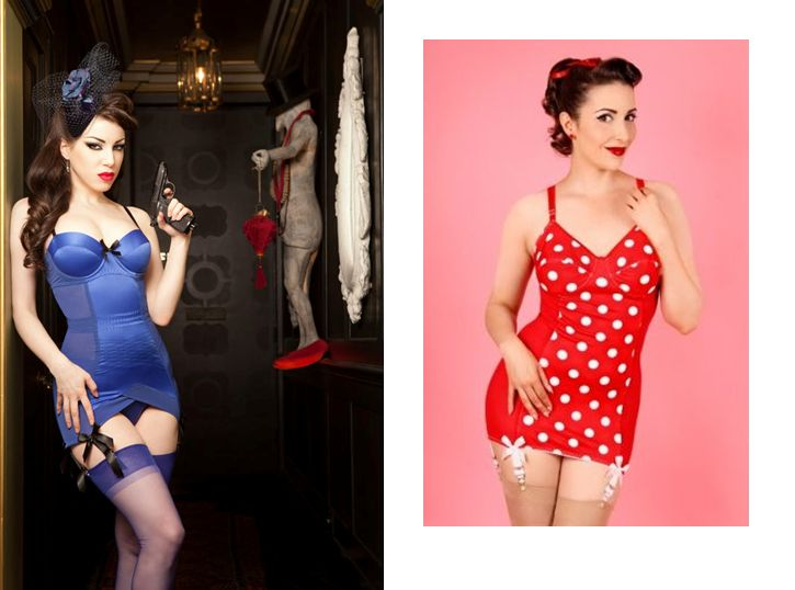Kiss Me Deadly_Blue Divine Corselette (2014), Joannas Wardrobe Red Betsy Spot Corselette