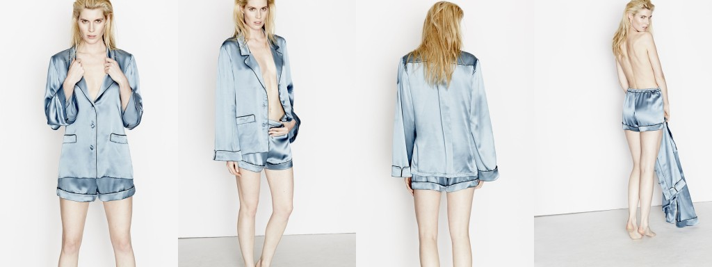 Three Graces London_Journey's End Pyjama Shirt+Shorts_Willow (Debut AW15)