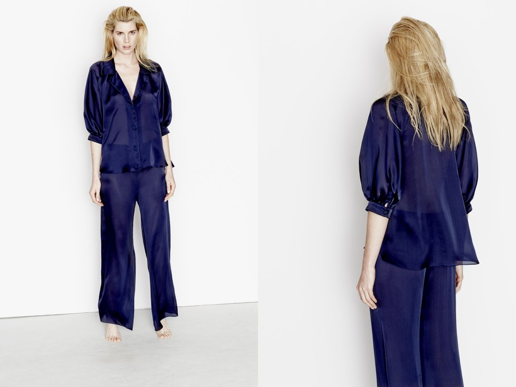 Three Graces London_Touch of Silk Chiffon Pyjama Shirt+Trousers_True Navy (Debut AW15)