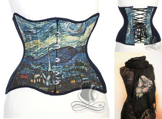 unartig_Unterbrustkorsett Van Gogh The starry Night, Paschminaschal Motte