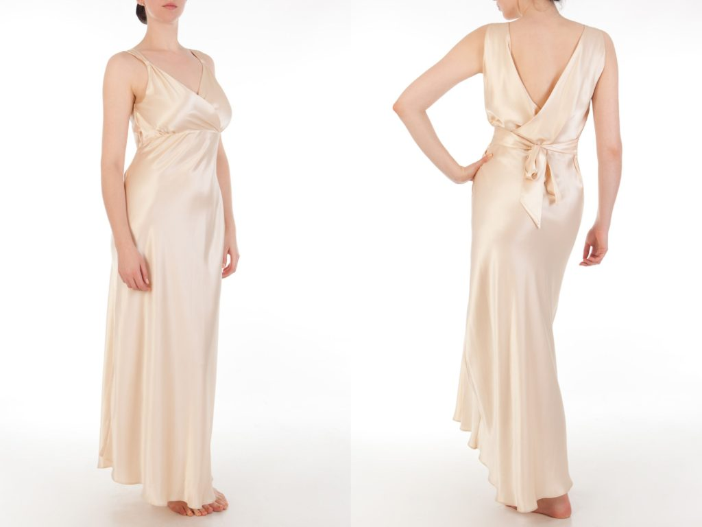 Harlow and Fox_Eleanor Almond_Draped Back Gown