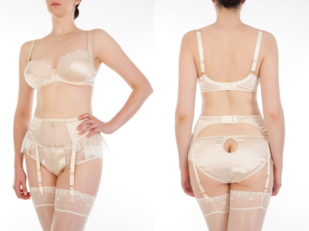 Harlow and Fox_Eleanor Almond_Full Cup Bra, Classic Briefs + Suspender Belt