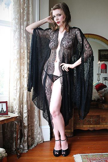 "Dollhouse Bettie ""French Quarter Black Lace Cocoon Robe"""