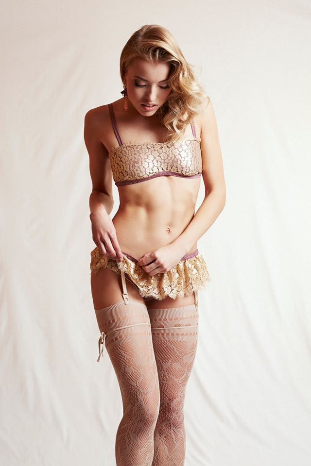 Helen Valk Varavin_Stella Silk Satin Bra, Panties & Suspender Belt with golden Lace (Luna Collection AW 2014)