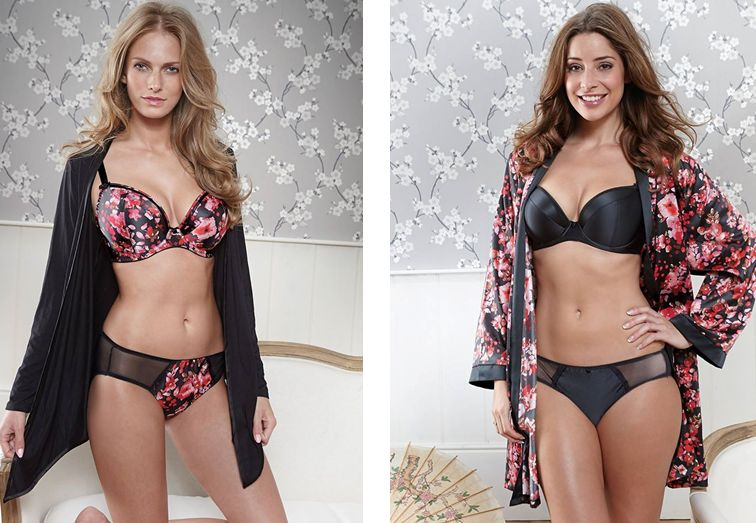 Bravissimo_Satine in Bloom Bra + Black Wrap_Satine Bra in black + Satine in Bloom Kimono (AW 2014)