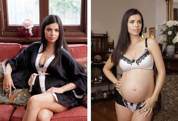 Elegantly Scant_Noir Silk Kimono Maternity + Sweet Heart Maternity Bra