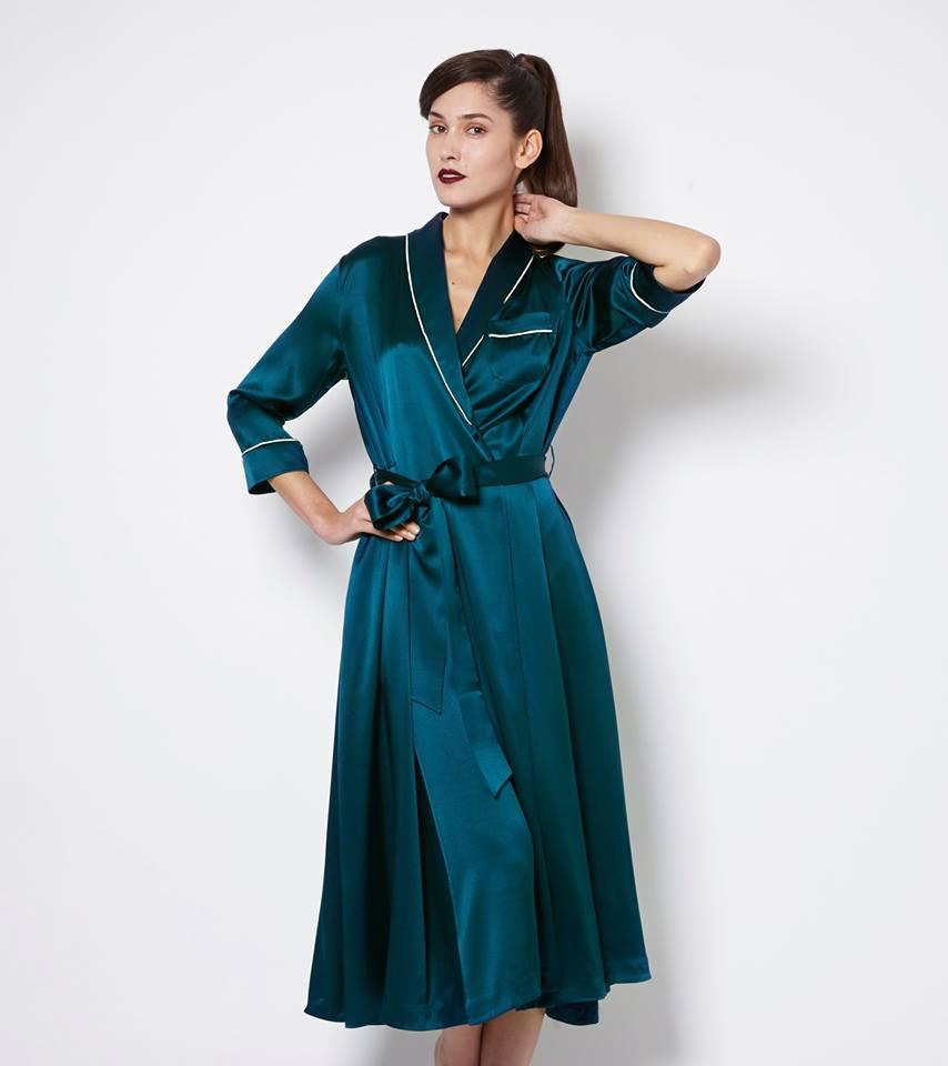 Olivia von Halle_Anoushka Forest Green Silk Robe (AW 2014)