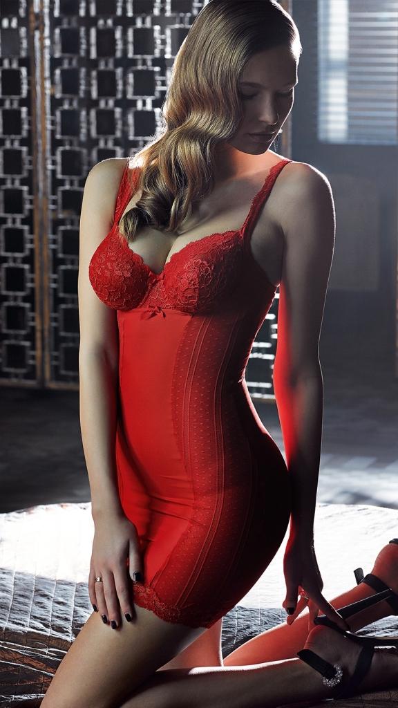 PrimaDonna_Couture Außenträger-BH 0162583 + Shapewear-Kleid 0862580_Red Kiss