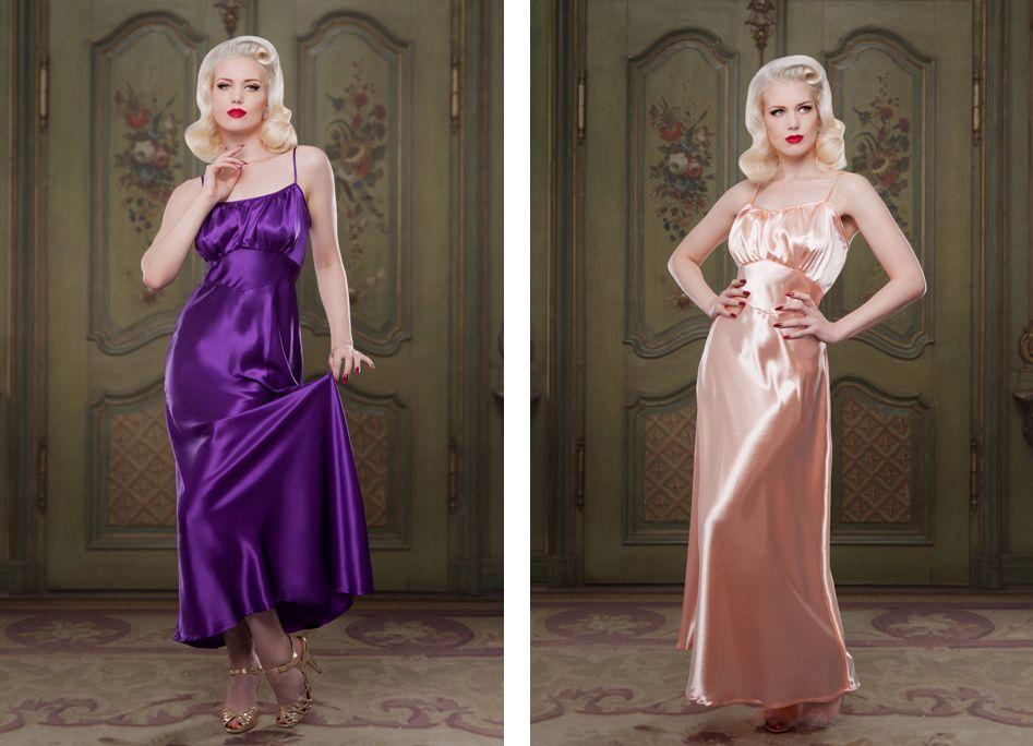 Betty Blues Loungerie_Heather Silk + Peach Bettie Nightgown (AW 14)