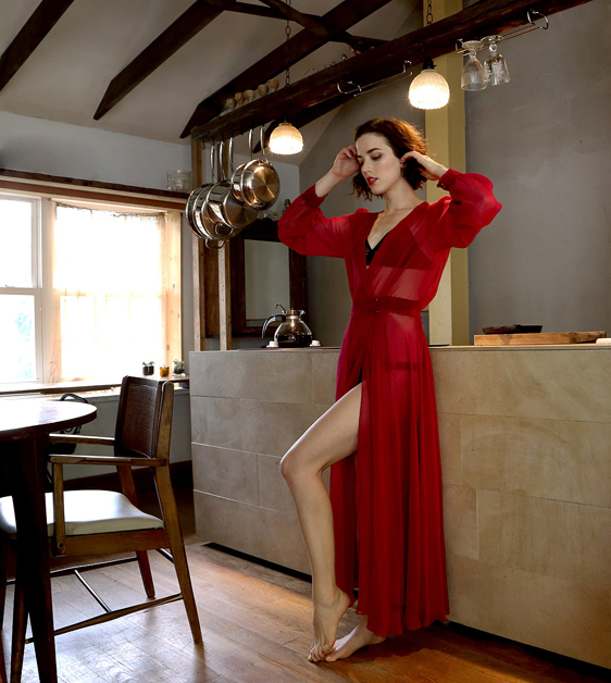Between the Sheets_Sheer Romance Dressing Robe Red