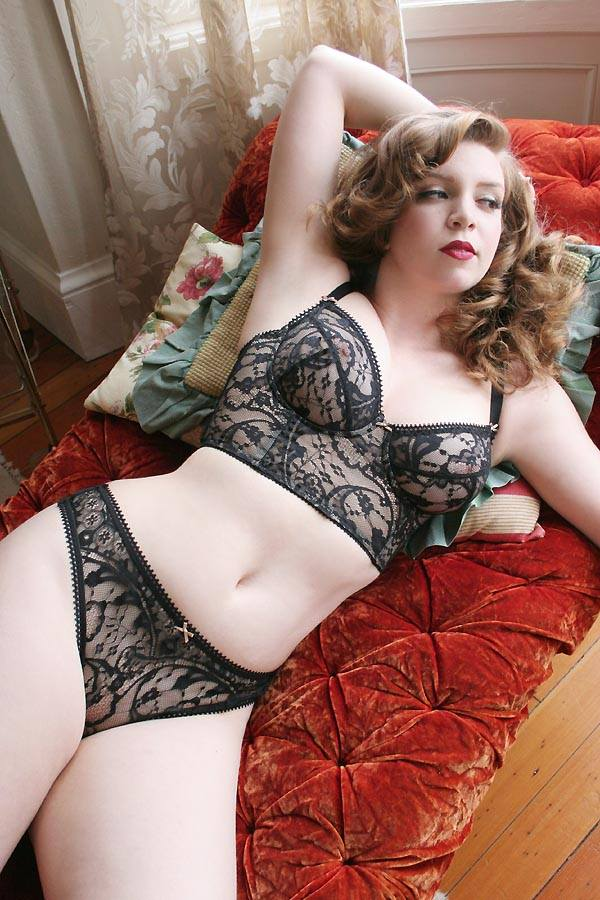 Dollhouse Bettie_Josephine Longline Underwire Bra + Mesh and Lace Thong (2014)