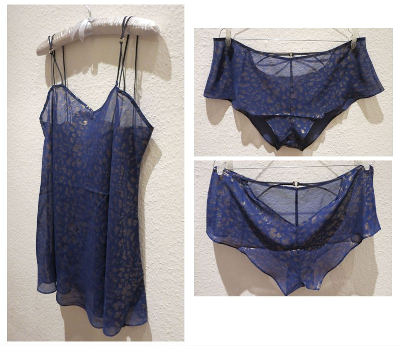 Between the Sheets_Leopard Play Babydoll + Tap Pant_Cobalt-Gold (AW13) - Review Everyday Boudoir