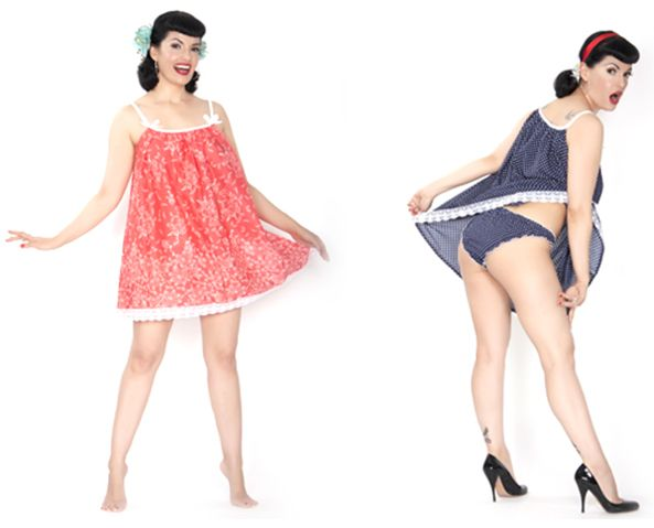 The Domestic Dame_Brigitte Nightie Set_Navy Polka+Pink Floral
