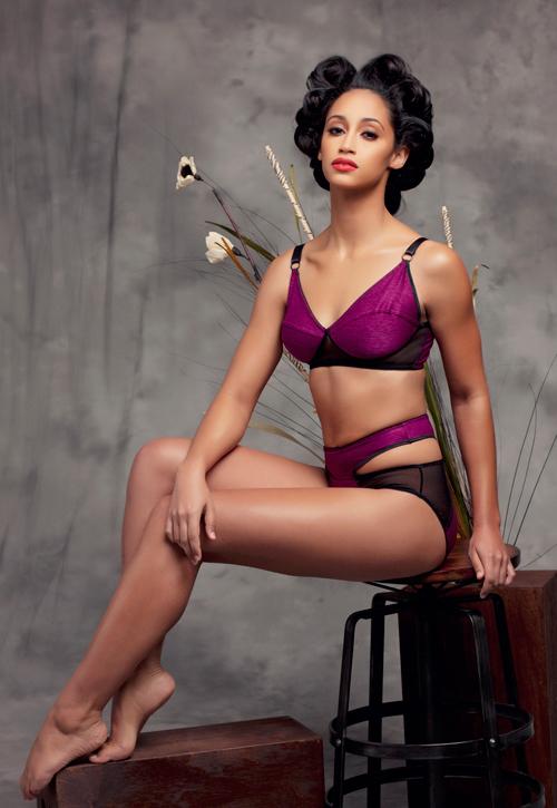 Sojourn Lingerie_Tallée Contrast Mesh Bra + Nima High Waist Cut-out Panties (Debut SS15) - Photo Lauren Ashley