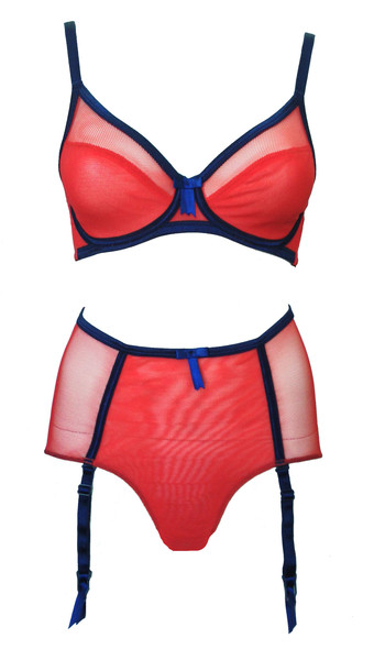 Claudette_Fishnet Scoop Neck Bra+Pin Up Knickers_Gia Red with Peacoat Trim (SS15)