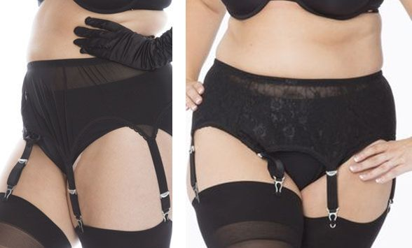 Big Tights Company_Mesh+Lace Suspender Belt 6 Straps