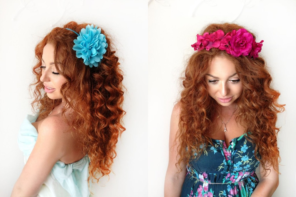 MissCocoBoutique_Blue Flower Headband+Fuchsia Flower Crown