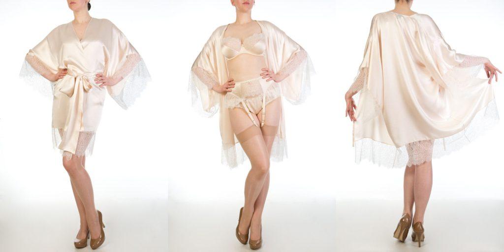 Harlow and Fox_Eleanor Almond_Kimono, Full Cup Bra, Classic Briefs+Suspender Belt